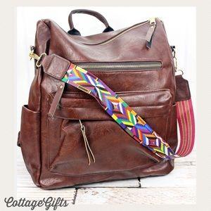 🆕 MOCHILA Mahogany Brown Vegan Leather Backpack